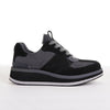 Women's KO-Z SPORT Low Wedge sheepskin lace up sneaker slipper black grey lateral view