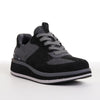 Women's KO-Z SPORT Low Wedge sheepskin lace up sneaker slipper black grey angled front lateral view