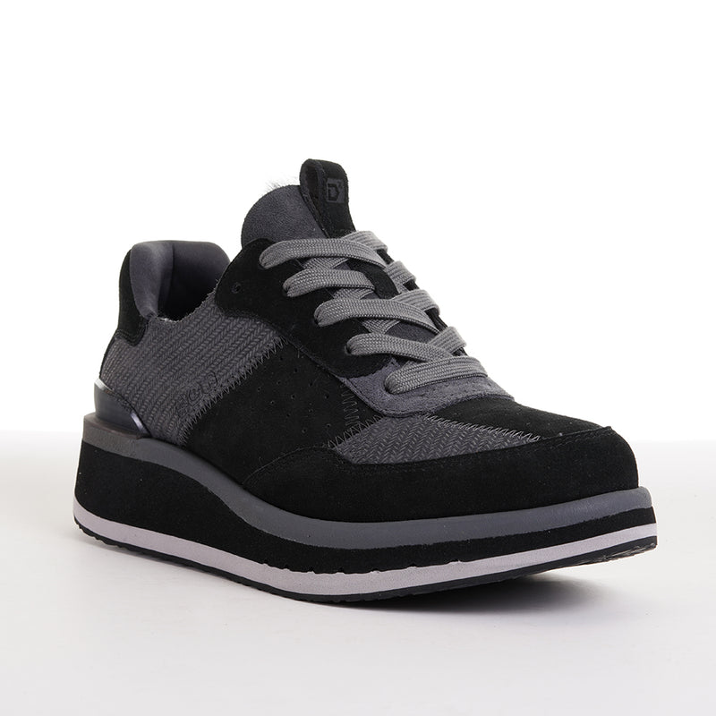 Women's KO-Z Sport Low Wedge / Black - Dark Grey