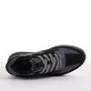 Women's KO-Z SPORT Low Wedge sheepskin lace up sneaker slipper black grey top view