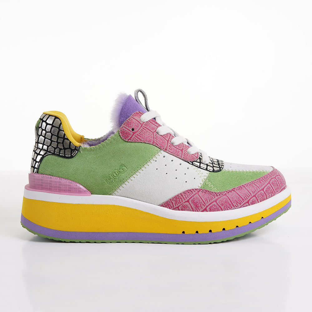 Women's KO-Z SPORT Low Wedge sheepskin lace up sneaker slipper pink green yellow white purple silver faux crocodile lateral view