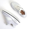 Women's KO-Z SPORT Low Wedge sheepskin lace up sneaker slipper white top view with left shoe angled to reveal medial side