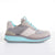 Women's KO-Z SPORT Low Wedge sheepskin lace up sneaker slipper grey and turquoise lateral view