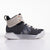 Women's X-SCAPE Mid grey marble black silver white suede lycra and wool walking sneaker boot lateral