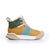 Women's X-SCAPE Mid tan yellow green white suede lycra and wool walking sneaker boot lateral view