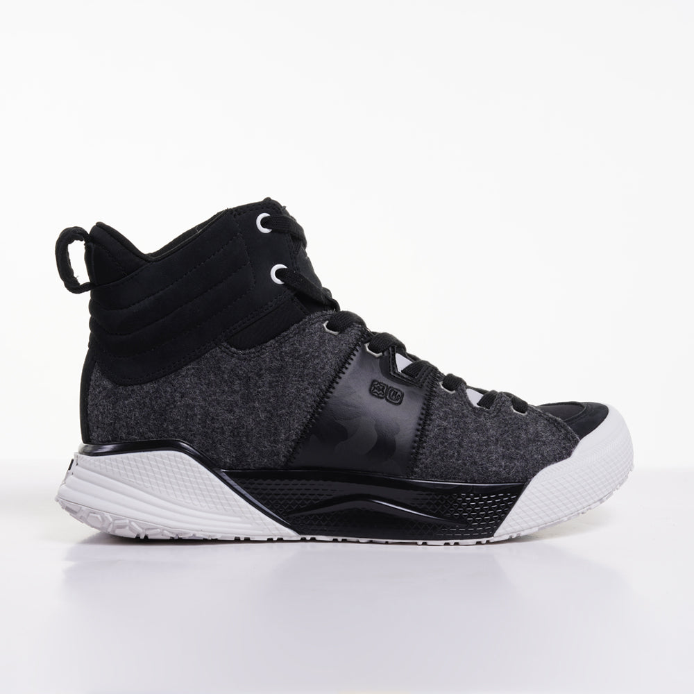 Women's X-SCAPE Mid black white suede lycra and wool walking sneaker boot lateral view