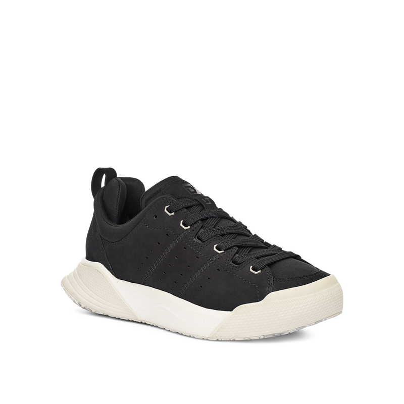 Women's X-SCAPE NBK Low black and white suede wool and lycra cushioned walking sneaker lateral view