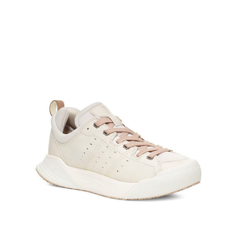 Women's X-SCAPE NBK Low cream and tan suede lycra and wool cushioned walking sneaker lateral view