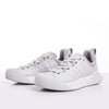 Women's X-SCAPE NBK Low white suede lycra and wool walking sneaker pair of shoes with toes facing left