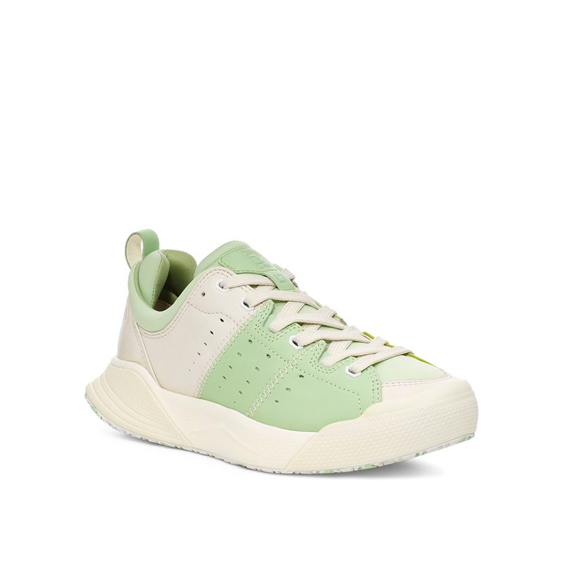 Women's X-SCAPE NBK Low cream white and mint green suede lycra and wool cushioned walking sneaker lateral view