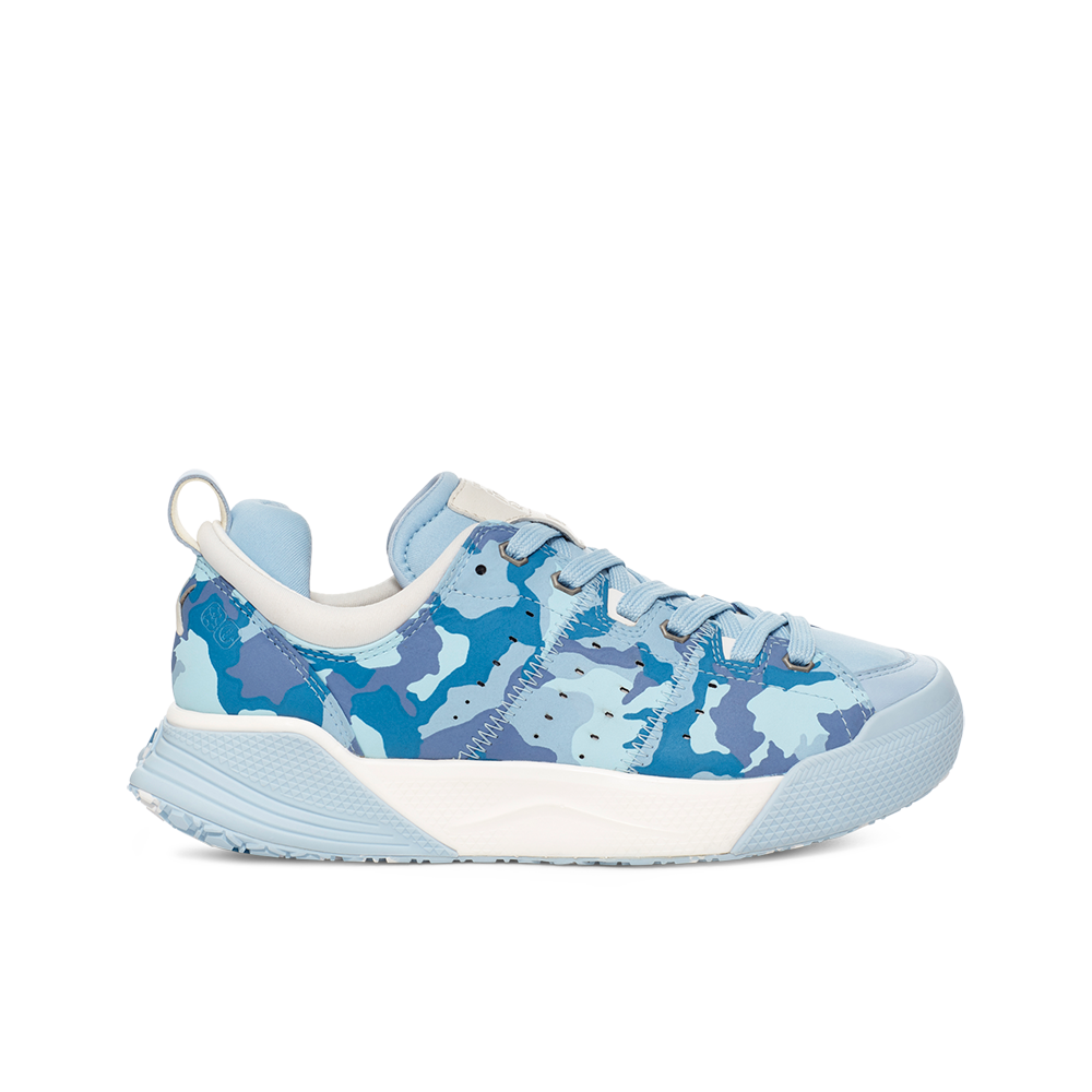 Women's X-SCAPE NBK Low suede, adjusting fit lycra and wool cushioned walking sneaker blue and white camo lateral view