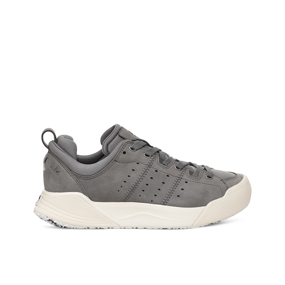 Women's X-SCAPE NBK Low suede, adjusting fit lycra and wool cushioned walking sneaker grey and white lateral view