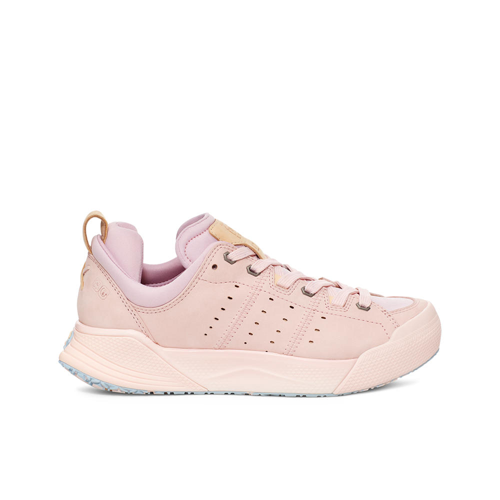 Women's X-SCAPE NBK Low suede, adjusting fit lycra and wool cushioned walking sneaker light baby pink purple and cream lateral view