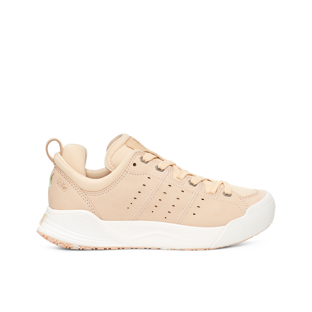 Women's X-SCAPE NBK Low suede, adjusting fit lycra and wool cushioned walking sneaker beige light mint green white lateral view