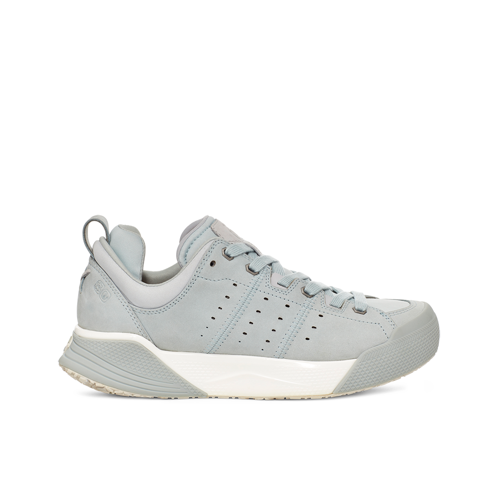 Women's X-SCAPE NBK Low suede, adjusting fit lycra and wool cushioned walking sneaker light grey blue white lateral view