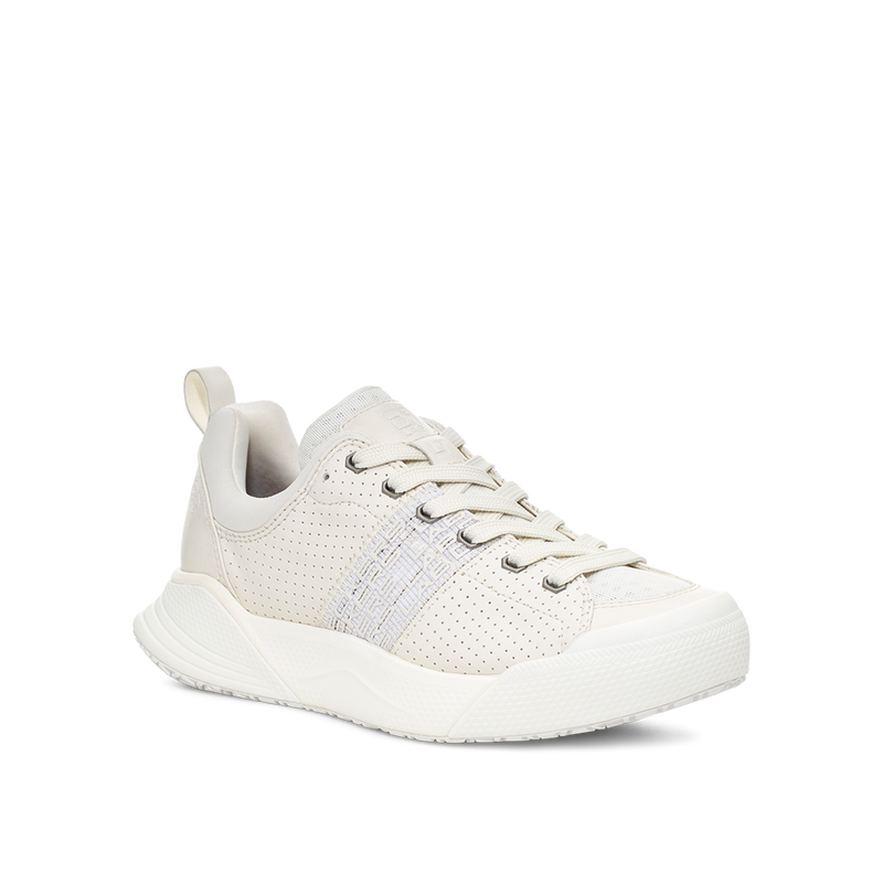 Women's X-SCAPE Sport Low breathable perforated suede, adjusting fit foam and hydrophobic Matryx, cushioned walking sneaker white lateral view