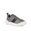 Women's X-SCAPE Sport Low breathable perforated suede, adjusting fit foam and hydrophobic Matryx, cushioned walking sneaker grey black and white angled view