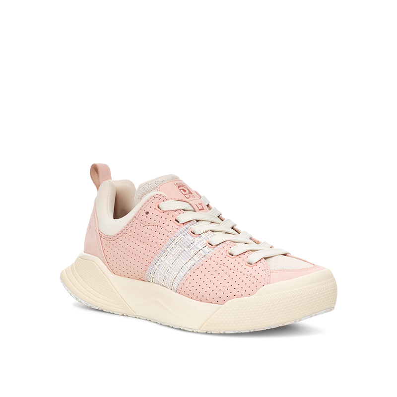 Women's X-SCAPE Sport Low breathable perforated suede, adjusting fit foam and hydrophobic Matryx, cushioned walking sneaker light baby pink and white side view