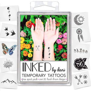INKED by Dani Temporary Tattoos Free Spirit Pack
