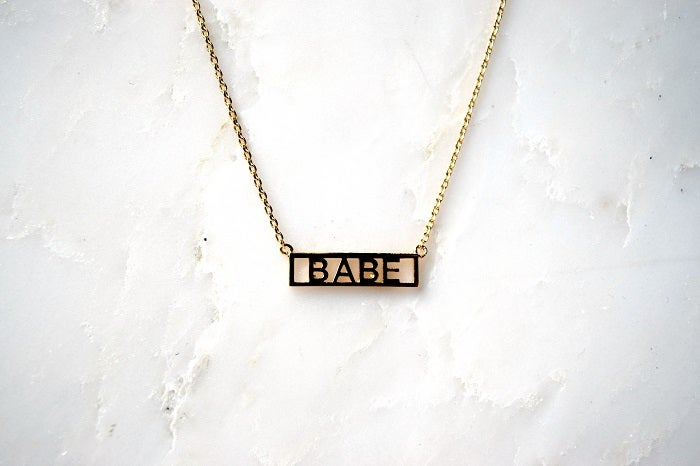 HE SAID SHE SAID Gold Word Necklace Babe