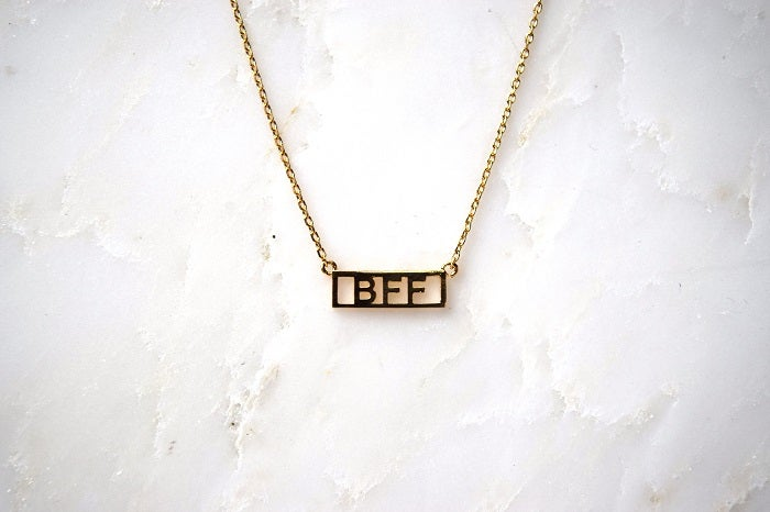 HE SAID SHE SAID Gold Word Necklace BFF