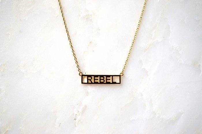 HE SAID SHE SAID Gold Word Necklace Rebel