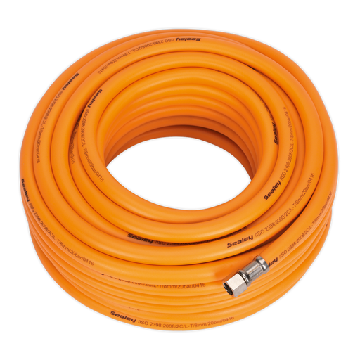 "Sealey - AHHC20 Air Hose 20m x Ø8mm Hybrid High Visibility with 1/4""BSP Unions"