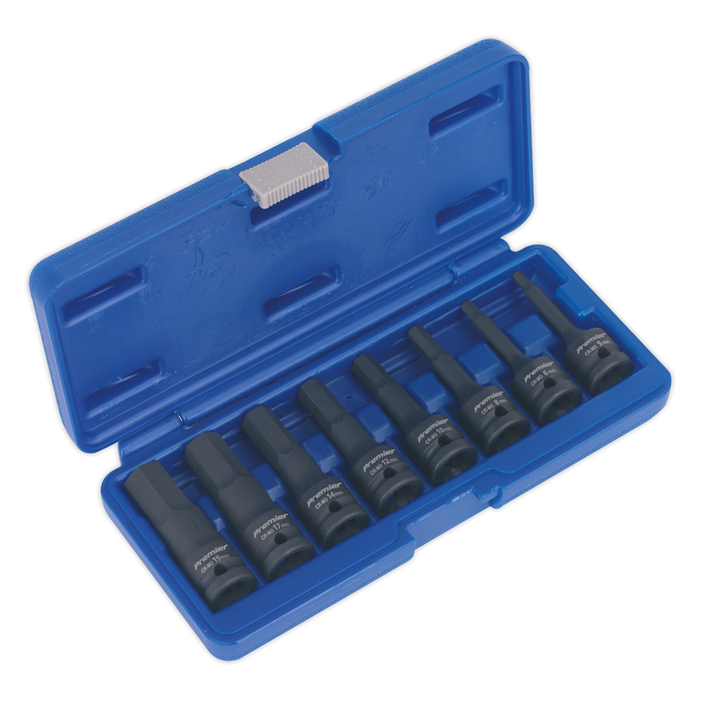 "Sealey - AK5601 Impact Hex Socket Bit Set 8pc 1/2""Sq Drive"