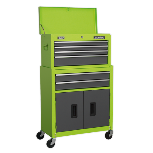 Sealey - AP2200BBHV Topchest & Rollcab Combination 6 Drawer with Ball Bearing Slides - Hi-Vis Green/Grey
