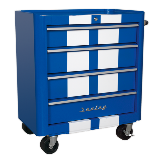 Sealey - AP28204BWS Rollcab 4 Drawer Retro Style - Blue with White Stripes