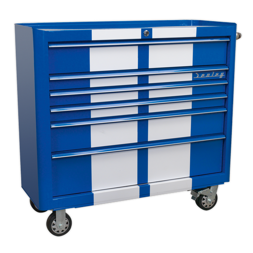 Sealey - AP41206BWS Rollcab 6 Drawer Wide Retro Style - Blue with White Stripes