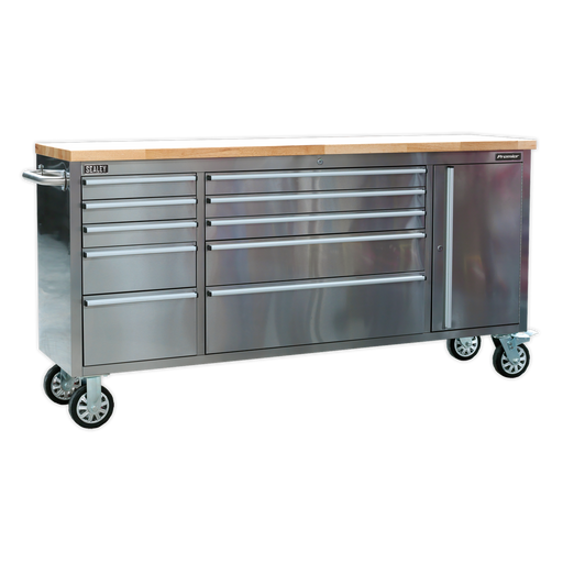 Sealey - AP7210SS Mobile Stainless Steel Tool Cabinet 10 Drawer & Cupboard