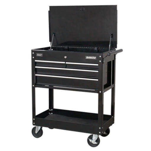 Certified Refurbished Sealey - AP850MB Heavy-Duty Mobile Tool & Parts Trolley with 4 Drawers & Lockable Top - Black