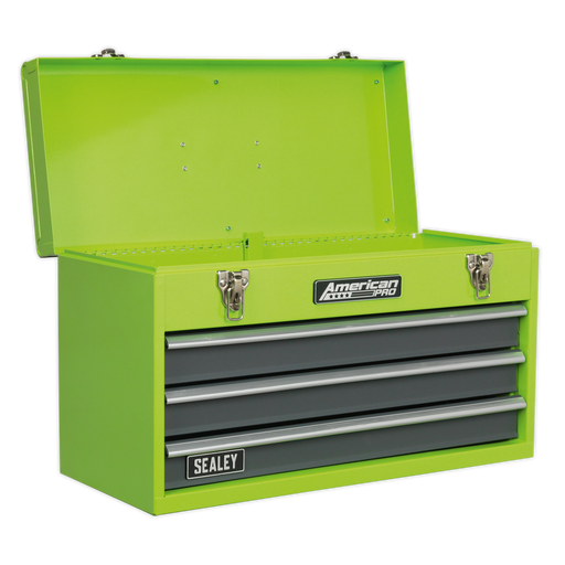 Sealey - AP9243BBHV Tool Chest 3 Drawer Portable with Ball Bearing Slides - Hi-Vis Green/Grey