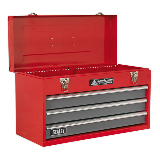 Sealey - AP9243BB Tool Chest 3 Drawer Portable with Ball Bearing Slides - Red/Grey