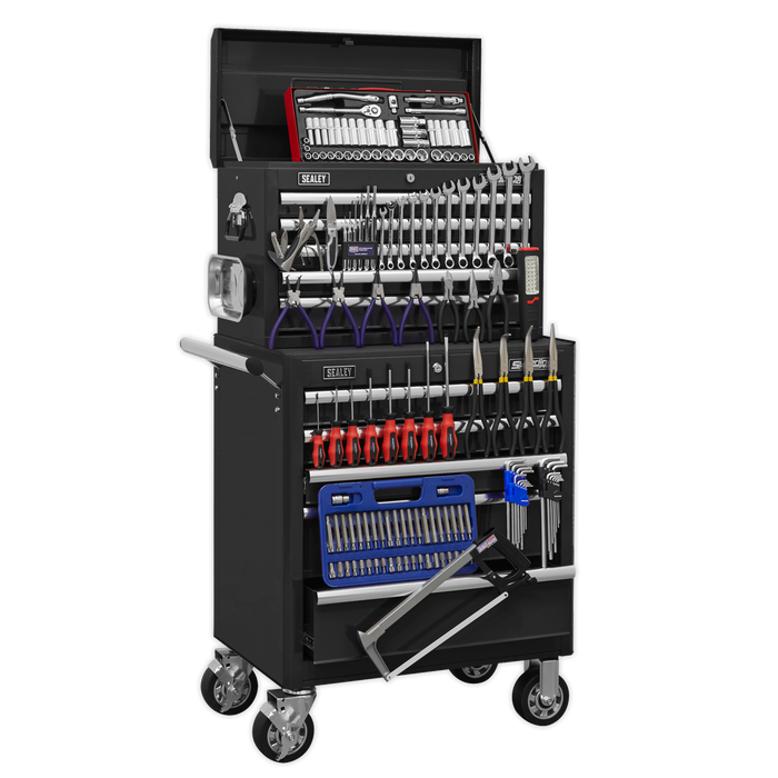 Sealey - APCOMBOBBTK56 Topchest & Rollcab Combination 10 Drawer with Ball Bearing Slides - Black with 147pc Tool Kit