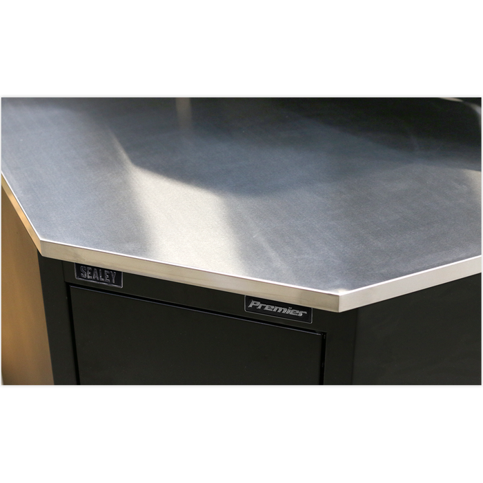 Sealey - APMS19 Stainless Steel Corner Worktop 930mm