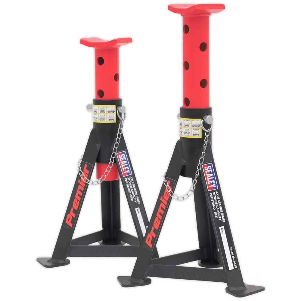 Sealey - AS3R Axle Stands (Pair) 3tonne Capacity per Stand - Red