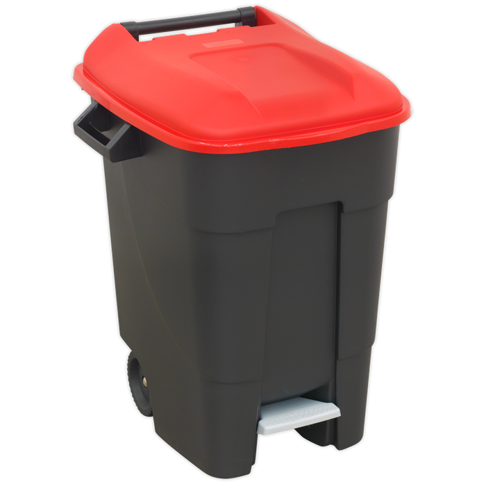 Sealey - BM100PR Refuse/Wheelie Bin with Foot Pedal 100ltr - Red
