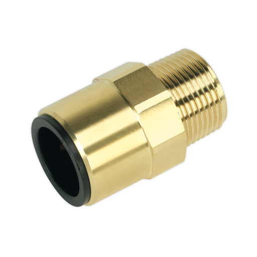 "Sealey - CAS22BSA Straight Adaptor 22mm x 3/4""BSPT Brass (John Guest Speedfit® - MM012206N)"