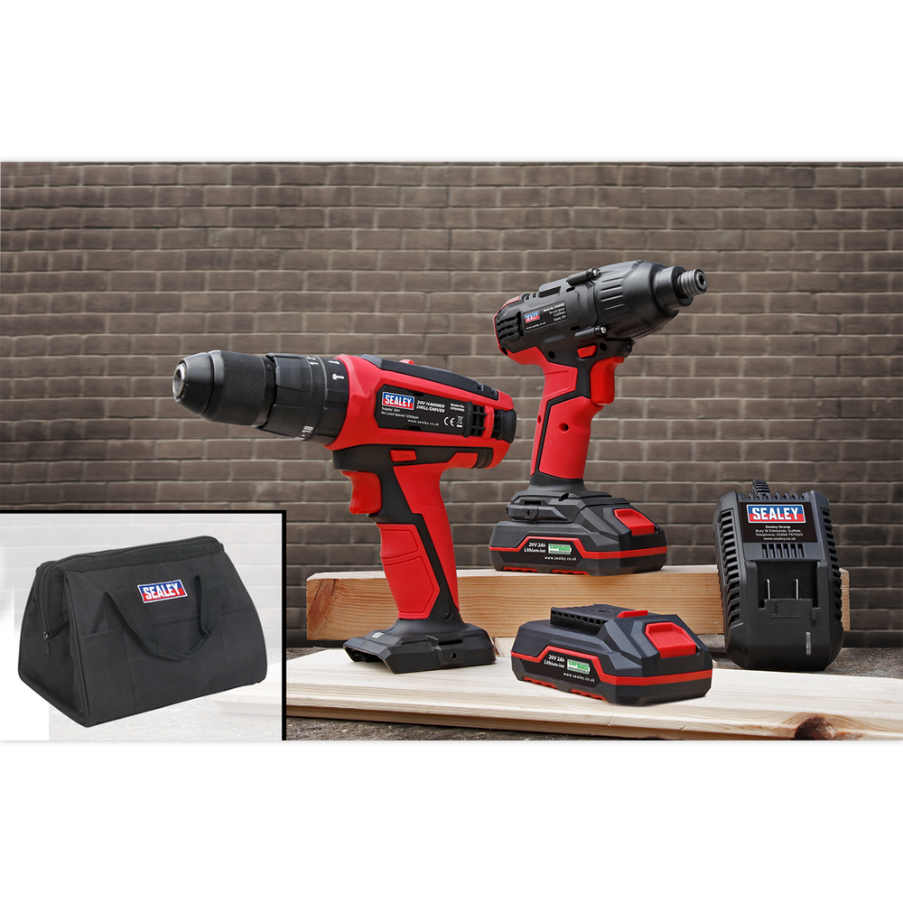 "Sealey - CP20VDDCOMBO 20V Cordless Ø13mm Hammer Drill/1/4""Hex Drive Impact Driver Combo Kit"