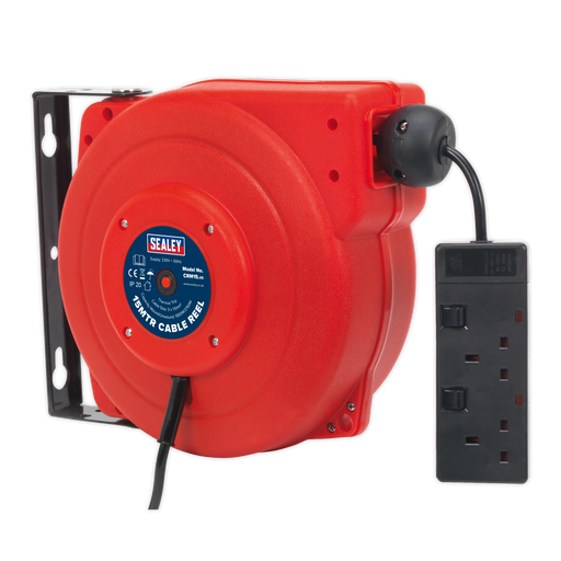 Sealey - CRM15 Cable Reel System Retractable 15m 2 x 230V Socket