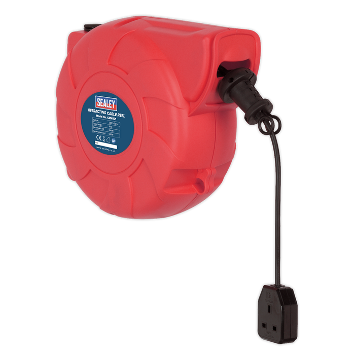 Sealey - CRM151 Cable Reel System Retractable 15m 1 x 230V Socket