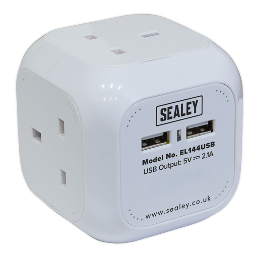 Sealey - EL144USB Extension Cable Cube 1.4m 4 x 230V + 2 x USB Sockets - White
