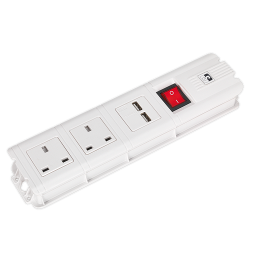 Sealey - EL32USBW Extension Cable 3m 2 x 230V + 2 x USB Sockets - White