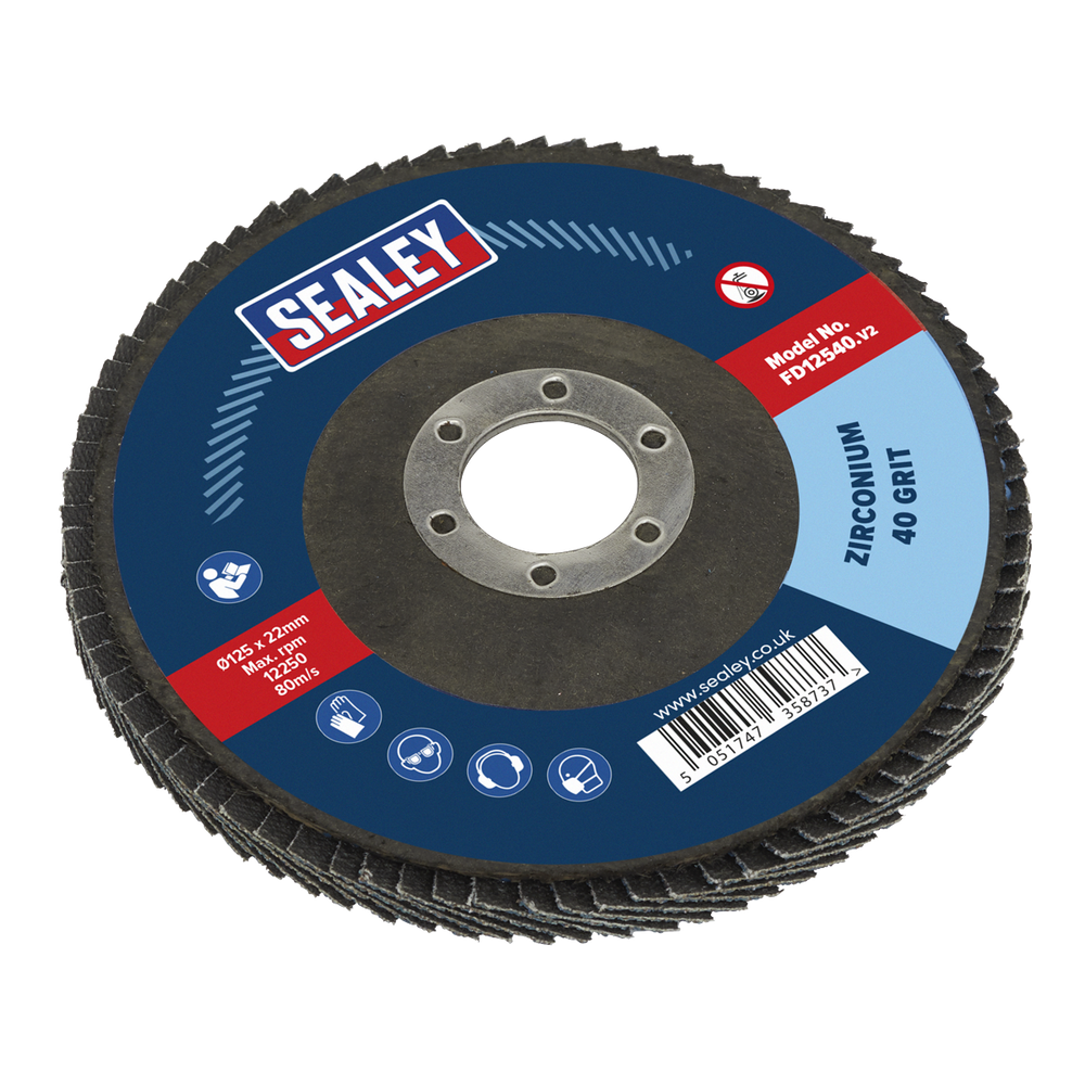 Sealey - FD12540 Flap Disc Zirconium Ø125mm 22mm Bore 40Grit