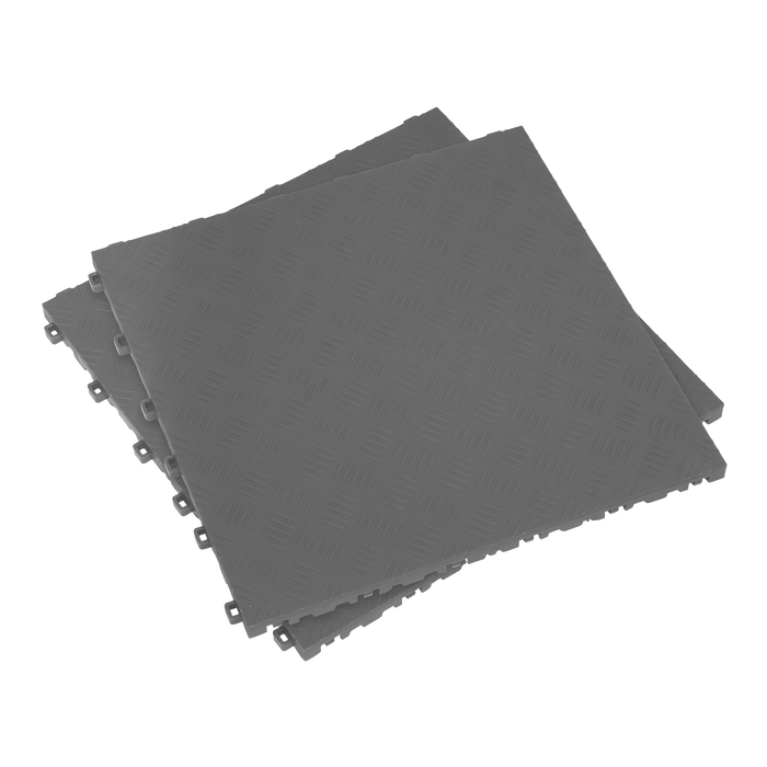 Sealey - FT3G Polypropylene Floor Tile 400 x 400mm - Grey Treadplate - Pack of 9