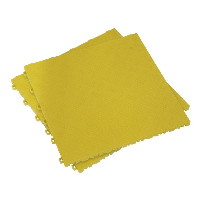 Sealey - FT3Y Polypropylene Floor Tile - Yellow Treadplate 400 x 400mm - Pack of 9