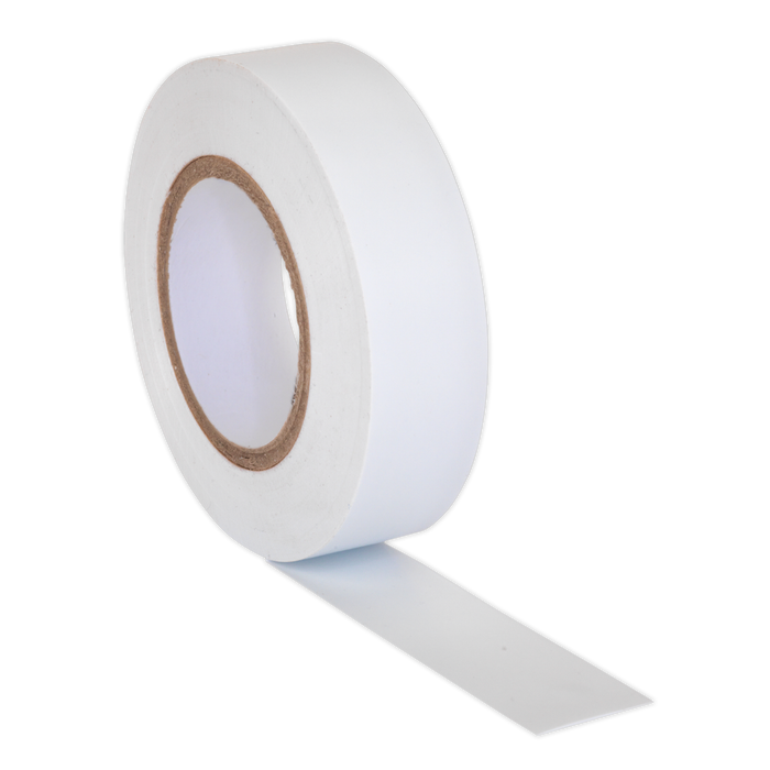 Sealey - ITWHT10 PVC Insulating Tape 19mm x 20m White Pack of 10