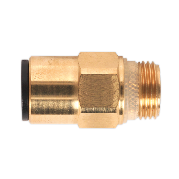 "Sealey - JGBC1238 Brass SuperThread Straight Adaptor 12mm x 3/8""BSP Pack of 2 (John Guest Speedfit® - RM011213)"